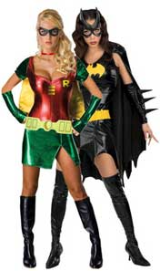 Ladies Batgirl And Robin Fancy Dress Costumes
