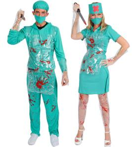 Scary Surgeon And Nurse Fancy Dress  Costumes