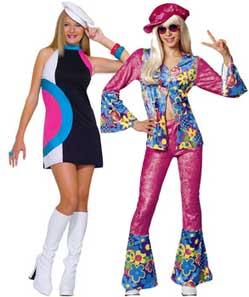 Teenage Girls Hippie And Mod Costumes